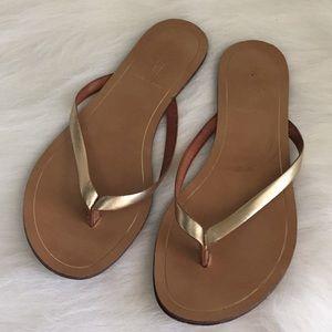 J. Crew Gold Flip Flop Sandals